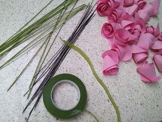paper flower craft tools including wires, paper and tape