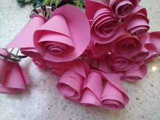 close up of pink paper flowers