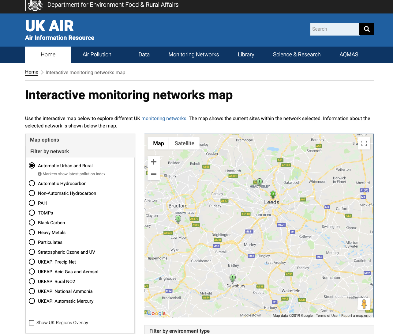 defra map showing 3 air quality monitoring stations in leeds