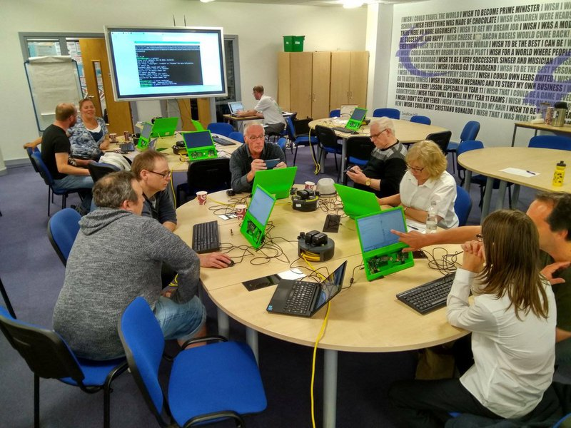 Community members from Leeds Raspberry Jam collecting data on Raspberry Pi computers